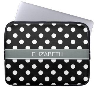 Black White Polka Dots #2 Charcoal Name Monogram Computer Sleeve
