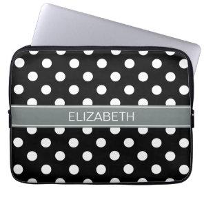 Black White Polka Dots #2 Charcoal Name Monogram Laptop Sleeve