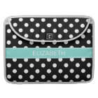 Black White Polka Dots #2 Turquoise Name Monogram Sleeve For MacBook Pro