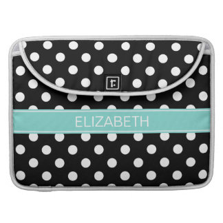 Black White Polka Dots #2 Turquoise Name Monogram Sleeve For MacBooks