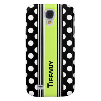 Black & White Polka Dots and Stripes Custom Galaxy S4 Case