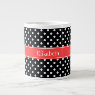Black White Polka Dots Coral Red Name Monogram Large Coffee Mug