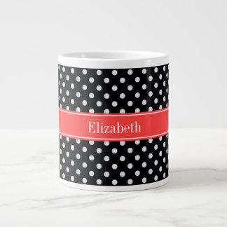 Black White Polka Dots Coral Red Name Monogram Large Coffee Mug