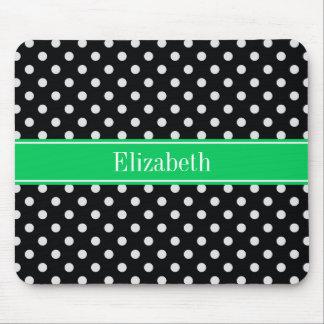Black White Polka Dots Emerald Name Monogram Mouse Mat