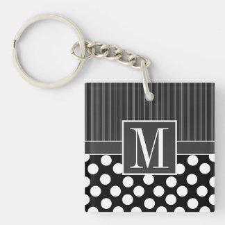 Black & White Polka Dots Double-Sided Square Acrylic Key Ring