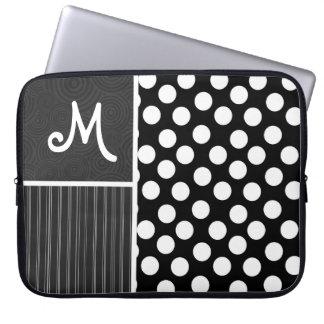 Black & White Polka Dots Laptop Sleeve