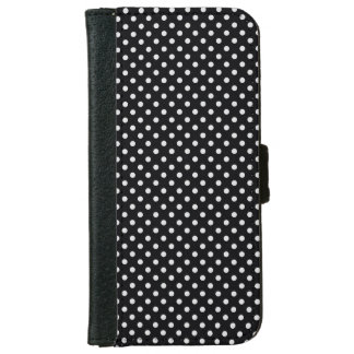 Black White Polka Dots Pattern iPhone 6 Wallet Case