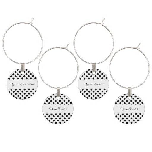 Black White Polka Dots Pattern Wine Charms