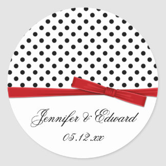 Black White Polka Dots Red Save The Date Classic Round Sticker