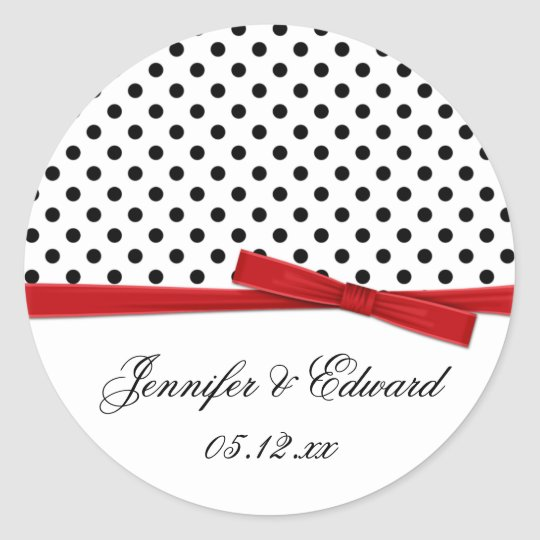 Black White Polka Dots Red Save The Date
