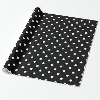 Black White Polka Dots Spot Pattern Wrapping Paper
