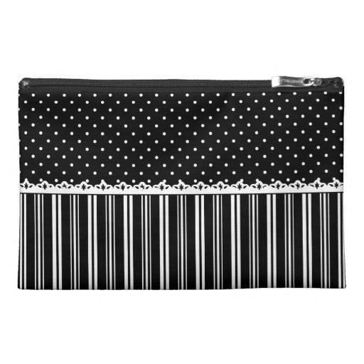 Black White Polka Dots Stripes Pattern Travel Accessory Bags
