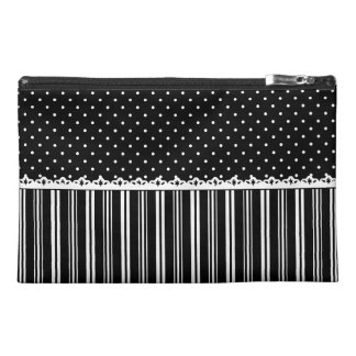 Black White Polka Dots Stripes Pattern Travel Accessories Bags