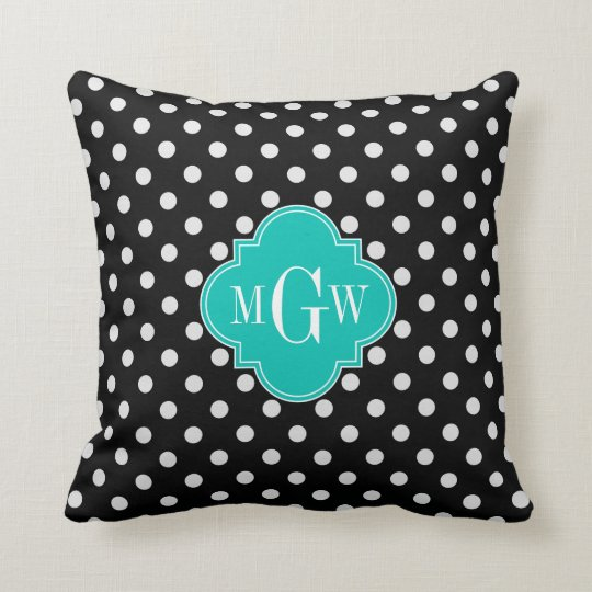 Black White Polka Dots Teal Quatrefoil 3 Monogram