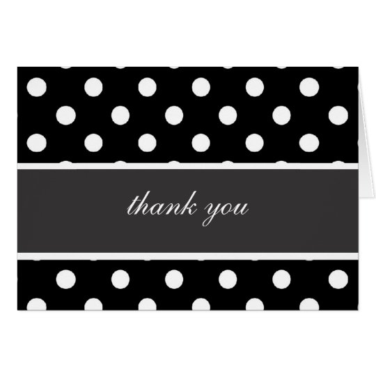 Black & White Polka Dots w/Black & White Ribbon Card