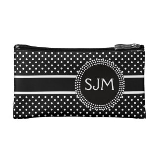 Black White Polka Dots with Monogram Makeup Bags