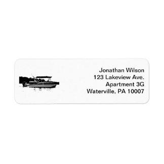 Black & White Pontoon Boat Return Address Labels
