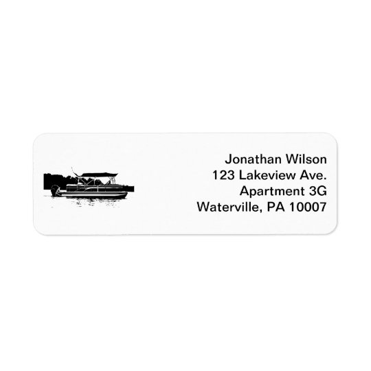 Black & White Pontoon Boat Return Address Labels