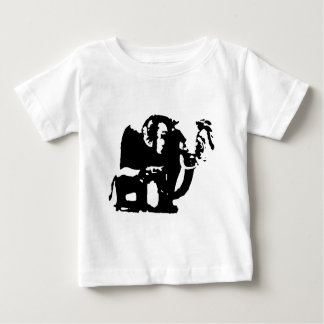 Black White Pop Art Baby & Mom Elephants Baby T-Shirt