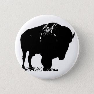 Black & White Pop Art Bison Buffalo 6 Cm Round Badge