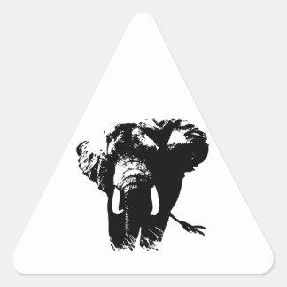 Black & White Pop Art Elephant Triangle Sticker