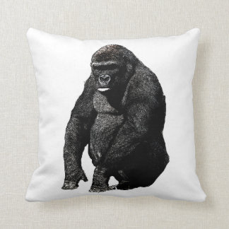 Black White Pop Art Gorilla Cushion