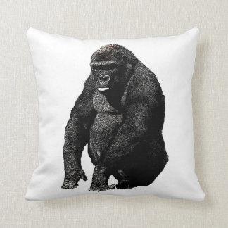 Black White Pop Art Gorilla Throw Cushions