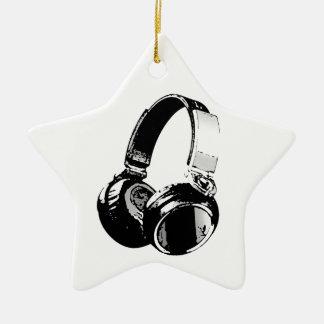 Black & White Pop Art Headphone Christmas Ornament