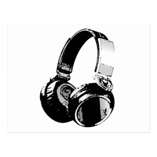 Black & White Pop Art Headphone Postcard
