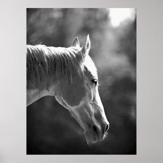 Black & White Pop Art Horse Print Poster