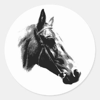 Black White Pop Art Horse Round Stickers