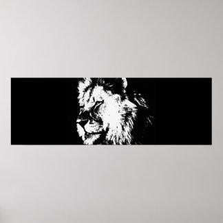 Black White Pop Art Lion Door Poster