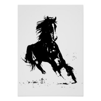 Black White Pop Art Running Horse Silhouette Poster