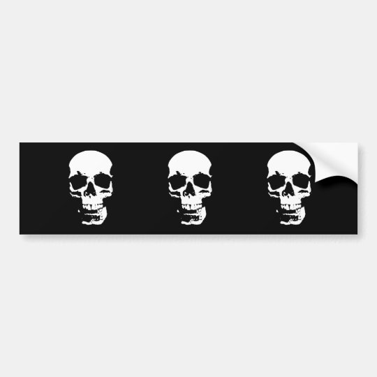 Black white pop art skull bumper sticker