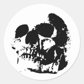 Black & White Pop Art Skull Classic Round Sticker