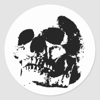 Black & White Pop Art Skull Round Sticker