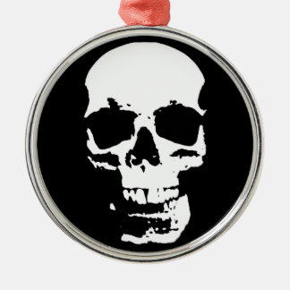 Black & White Pop Art Skull Stylish Cool Christmas Ornament