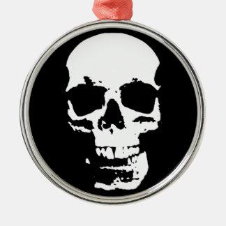 Black & White Pop Art Skull Stylish Cool Christmas Ornament