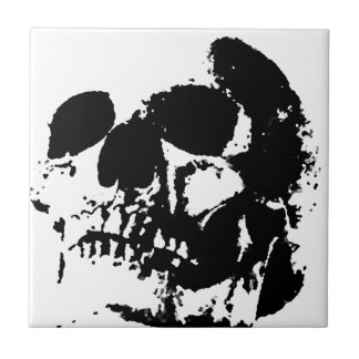 Black & White Pop Art Skull Tile