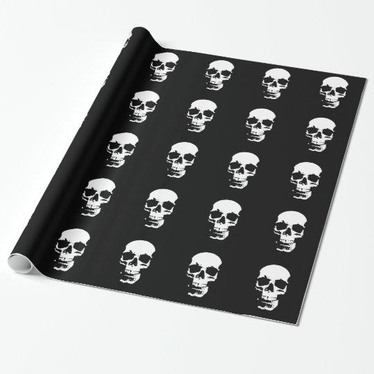 Black & White Pop Art Skull Wrapping Paper