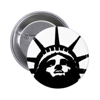 Black & White Pop Art Statue of Liberty 6 Cm Round Badge