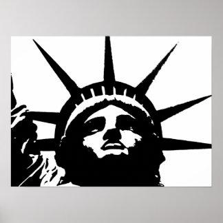 Black & White Pop Art Statue of Liberty Poster