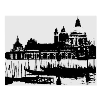 Black White Pop Art Venice Italy Travel Postcard