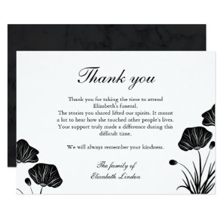 Black & White Poppies Funeral Thank You Card