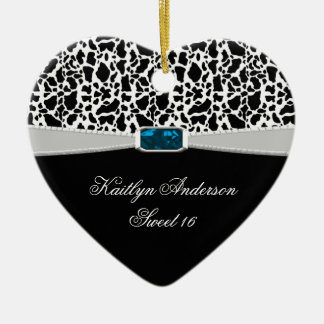 Black White Print and Blue Jewel Sweet 16 RE-DO Ceramic Heart Decoration