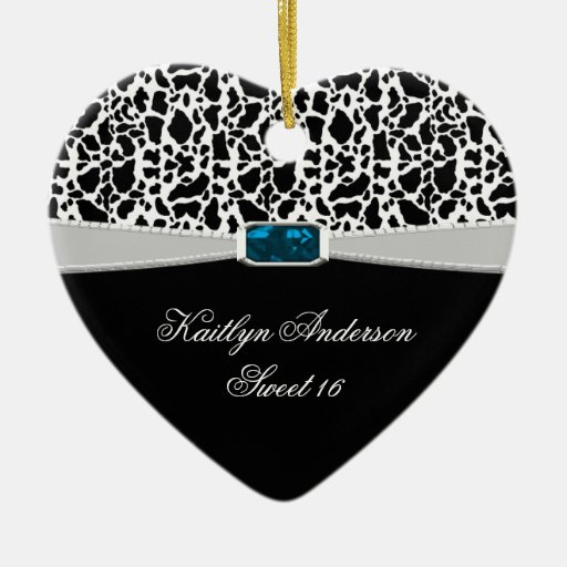 Black White Print and Blue Jewel Sweet 16 RE-DO Christmas Ornaments
