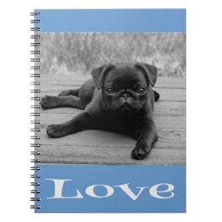 Black & White Pug Puppy Dog Blue Love Notebook