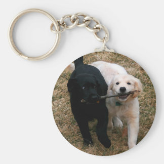 Black & white puppies key chain