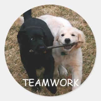"""Black & white puppies """"teamwork"""" stickers"""