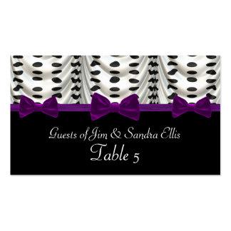 Black White Purple Draped Polka Dots Table Business Card Templates